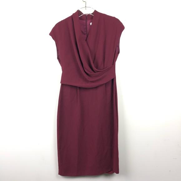 MaxMara Dresses & Skirts - New MaxMara Maroon Front Drape Midi Dress
